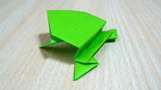 如何製作跳蛙。摺紙。 藝術工藝。