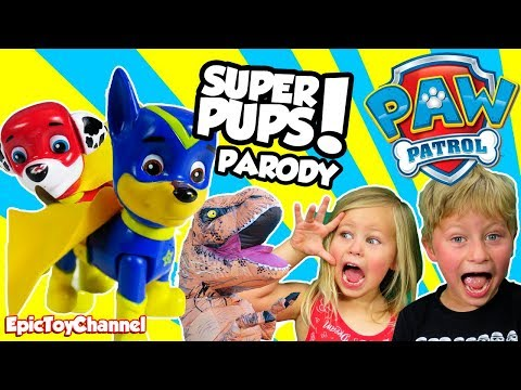 PAW PATROL SUPER PUPS Rescue Kids From T-Rex In REAL LIFE a Paw Patrol Nickelodeon Parody Toy Video