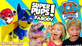 paw patrol super pups rescue kids t rex in real life a paw patrol parody video by epic toy channel