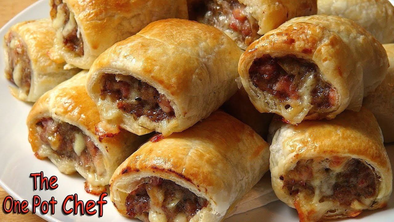 Cheesy Beef and Bacon Sausage Rolls | One Pot Chef - YouTube