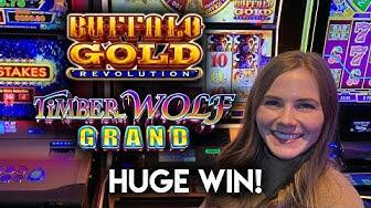 HUGE WIN! Timberwolf Grand Slot Machine! 20 Free Games!!