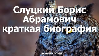 Слуцкий Борис Абрамович краткая биография