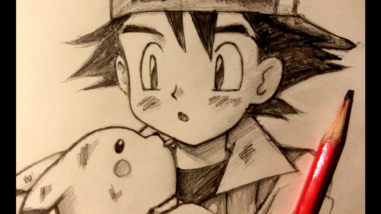 Asmr pencil drawing 38 ash ketchum request