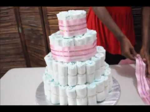 How to make a 5 tier diaper cake