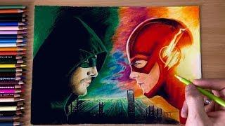 Dessiner Flash vs Arrow avec des Crayons Prismacolor