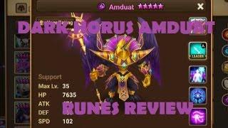 summoners war dark horus amduat review dark horus runes skills review
