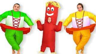 Майя и папа устроили конкурс смешных костюмов