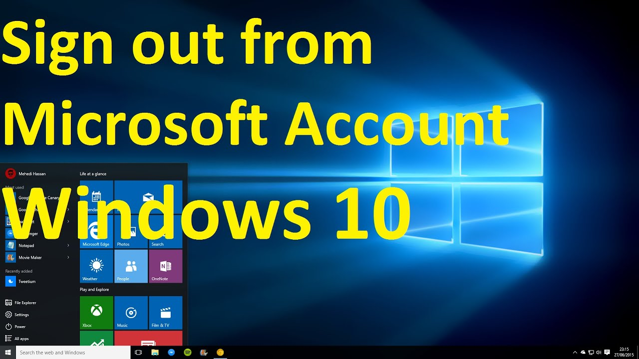 how to sign out from microsoft account on windows 10