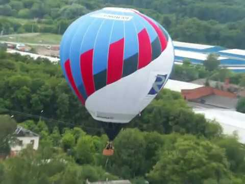 Hot Air Balloon Flying Over Rural Russia