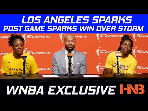 Nneka Ogwumike, Chelsea Gray, Derek Fisher Post Game Press C