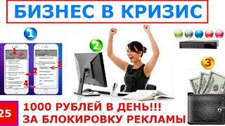 1000 рублей в день за блокировку рекламы Заработок не требующий вложений Обзор методики