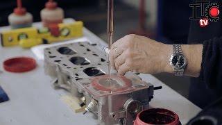 Cálculo de relación de compresión cubicando una tapa de cilindros