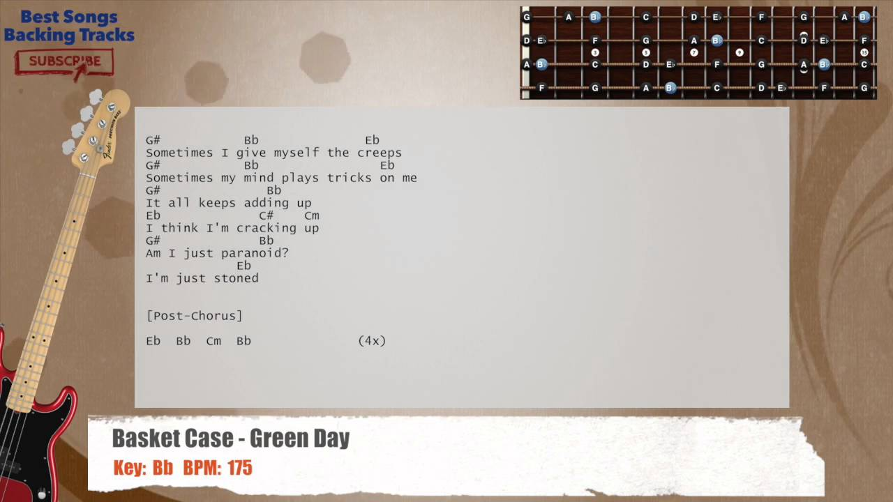 Basket Case Green Day Bass Backing Track With Chords And Lyrics