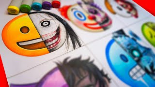 HORROR Artist Draws Emojis in SCARY Styles 😃 (Jeff The Killer, FNAF + More!)