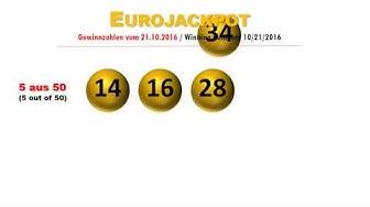 Eurojackpot Gewinnzahlen Ziehung Freitag 21.10.2016; Eurolotto Jackpot ist weg!