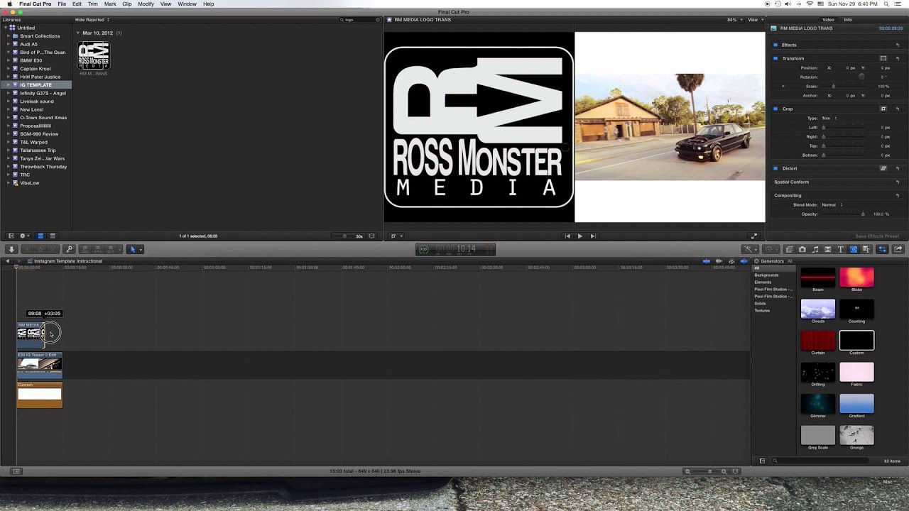 How To Size Your Video For Instagram Final Cut Pro X