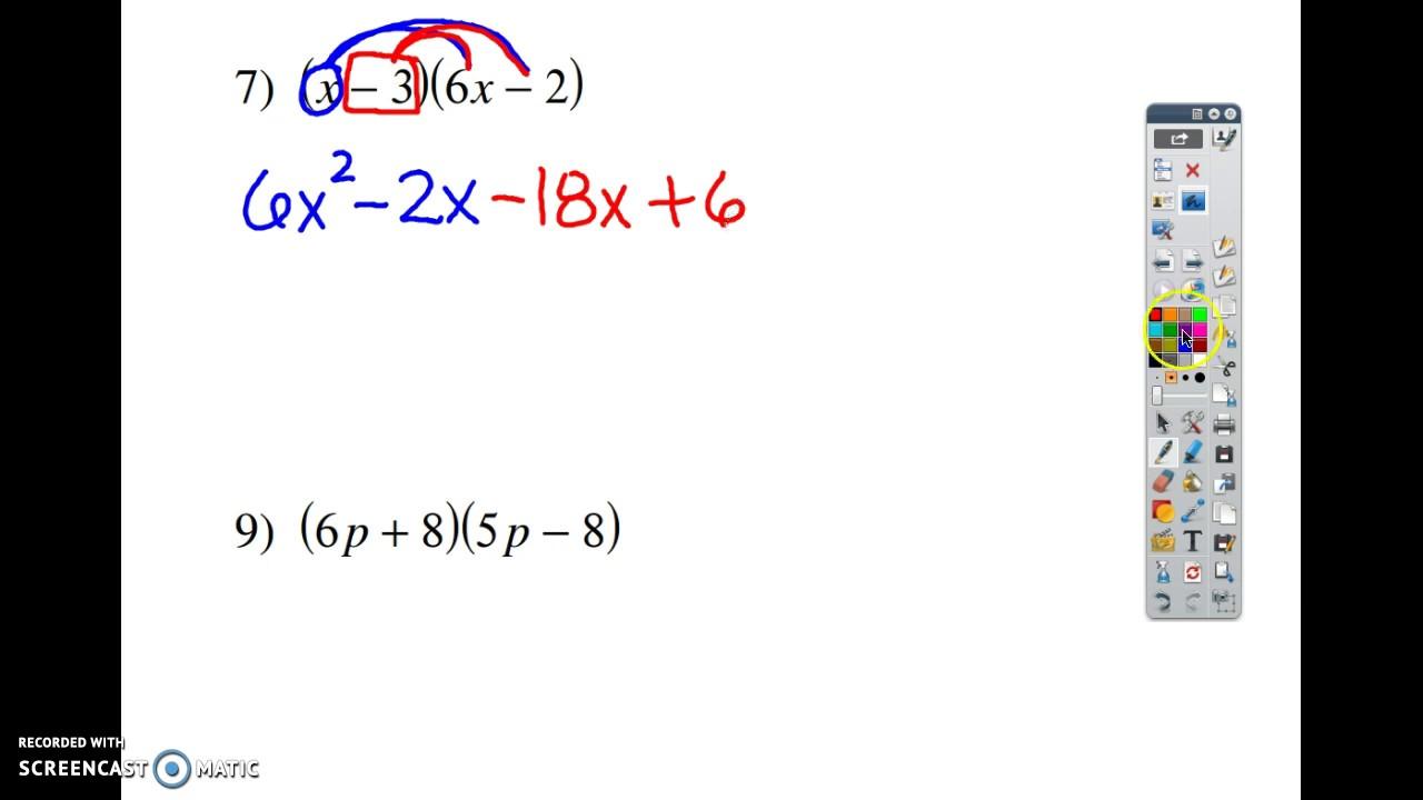 Multiply G Polynomi Ls Kut W Ksheet 5 7 Youtube
