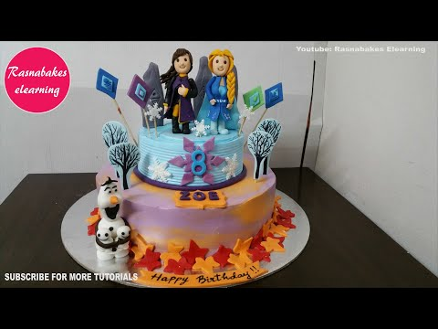 Frozen 2 Theme Birthday Cake Design For Girls Ideas With Name At Home Easy Cakes For Kids Youtube