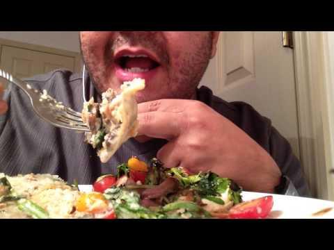 Asmr #49 Mushroom ravioli and a Caprese salad.