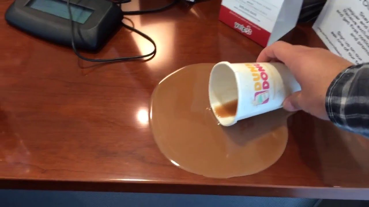fake coffee spill at