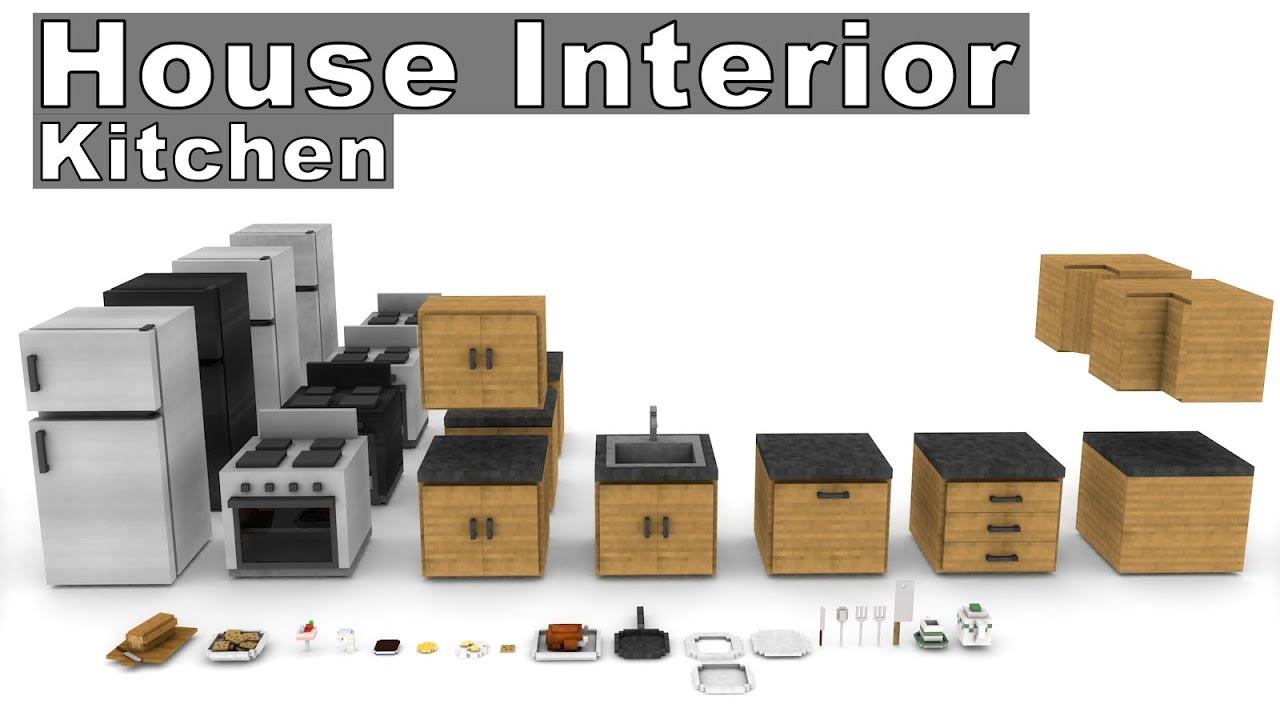 Minecraft House Interior Furniture Model Pack - Kitchen [Cinema 4D ...