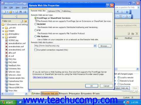 FrontPage Tutorial Publishing Your Web Site Microsoft Training Lesson 9.3