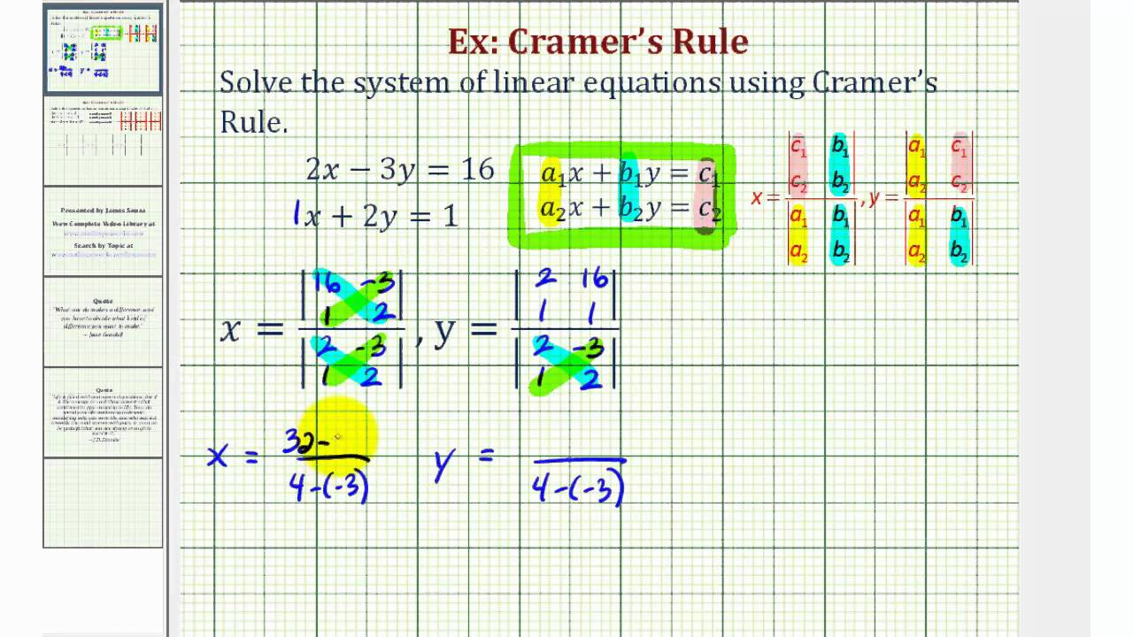 Ex Solve A System Of Two Equations Using Cramers Rule Youtube