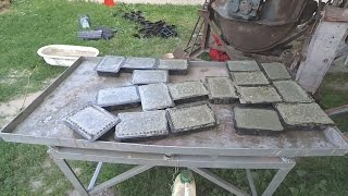 Production of paving slabs