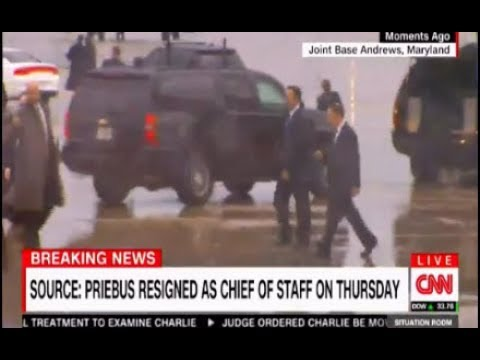 Reince Priebus Out; lonely ride in an SUV already out of the official Motorcade