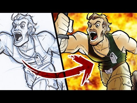 PHOTOSHOP HACK: Sketch To Digital Art - FAST AND EASY!