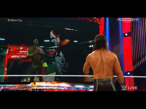 Sting destroys statue of Seth Rollins - WWE Raw September 7 2015