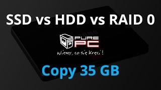 SSD vs HDD vs RAID 0 - Copy test 35 GB different files
