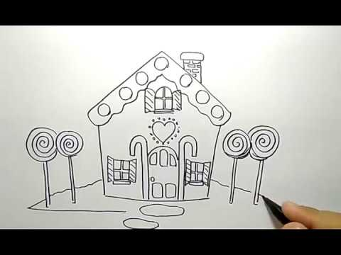 Cara Menggambar Rumah Kue Permen How To Draw Candy House Youtube