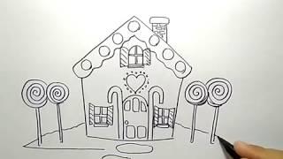 cara menggambar rumah kue permen / how to draw candy house