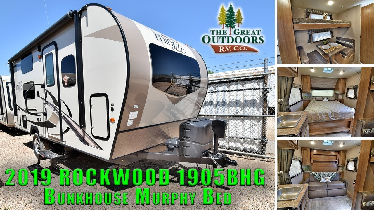 Small Camper With Slide Out >> New Minilite 2019 ROCKWOOD 1905BHG Bunkhouse Murphy Bed Travel Trailer RV Colorado Dealer - YouTube
