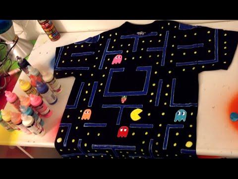 PAC MAN DIY Shirt: Puffy Paint Fun + Glow In The Dark!