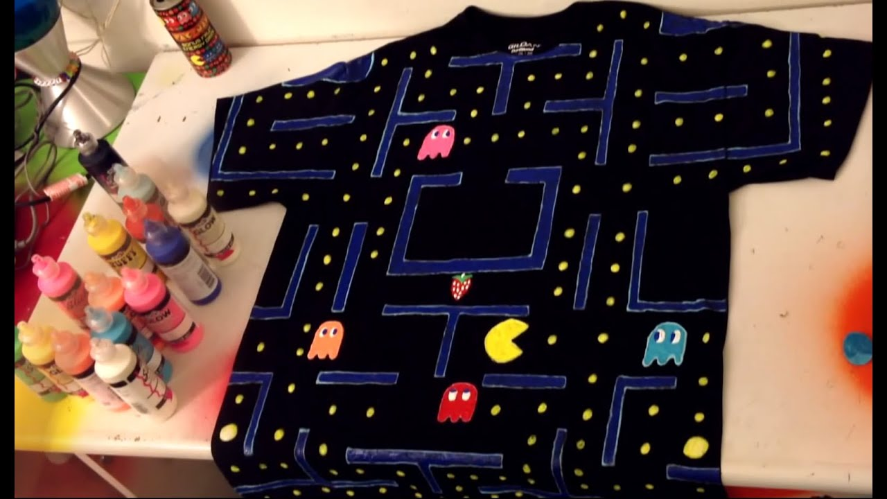 Puffy paint designs - Pac Man Diy Shirt Puffy Paint Fun Glow In The Dark
