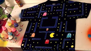 Pacman arcade tshirt! Doodle with Glow in the Dark Puffy Paint :) P...
