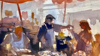 """Advancing with Watercolor: simplyfying complexity with tonal values  """"The Cheese Vendor"""""""