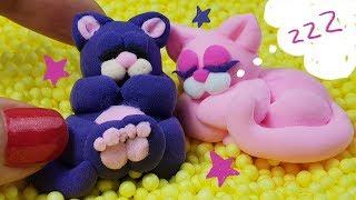 Лепим милых сонных котят из воздушного пластилина😽😻