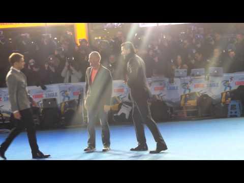 "Michael ""The Eagle "" Edwards and Taron Egerton at Eddie the Eagle Premier 17 03 2016"