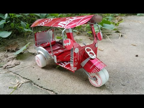 Amazing auto rickshaw with Coca-Cola cans - How to make tuk tuk auto rickshaw by Coca-Cola cans