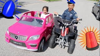 Police Kid Pulls Over Baby Sister For Speeding! 👮 FamousTubeKIDS