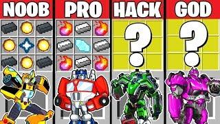 Minecraft Battle: TRANSFORMERS AUTOBOTS CRAFTING CHALLENGE ~ NOOB vs PRO vs HACKER vs GOD Animation