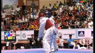 58kg Gabriel Mercedes (DOM) vs (GRE) Marios Tsourdiniz (world taekwondo Qualification 2011)