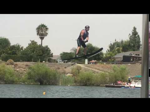 Waterski Jumping in Canyon  Lake. View from the boat