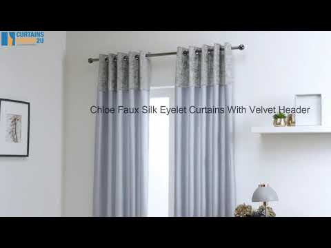 Chloe Faux Silk With Crushed Velvet Band Curtains