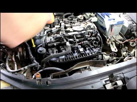 Замена помпы + термостат, водяной насос на Skoda Octavia 1,8 турбо Шкода Октавия 2013 года  1часть