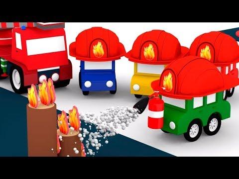 4 coches coloreados - Camiones de bomberos.