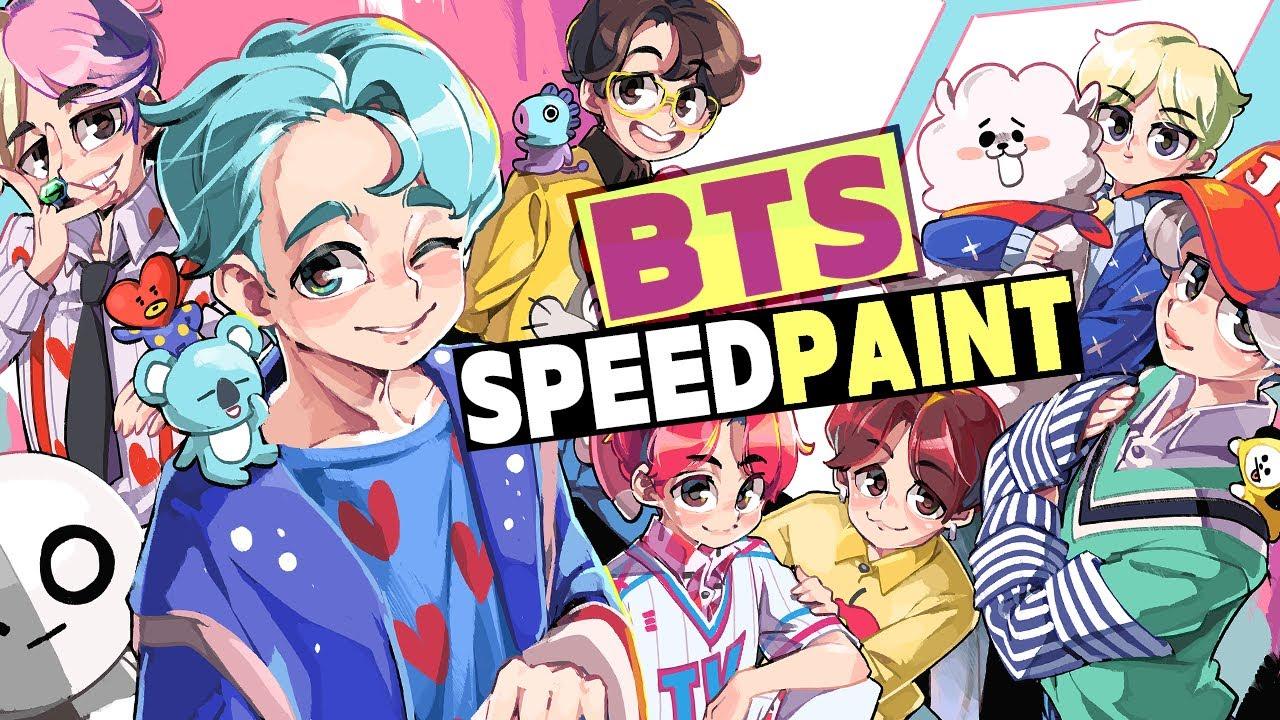 참 쉬운 BTS (방탄소년단)과  BT21 캐릭터 그리기